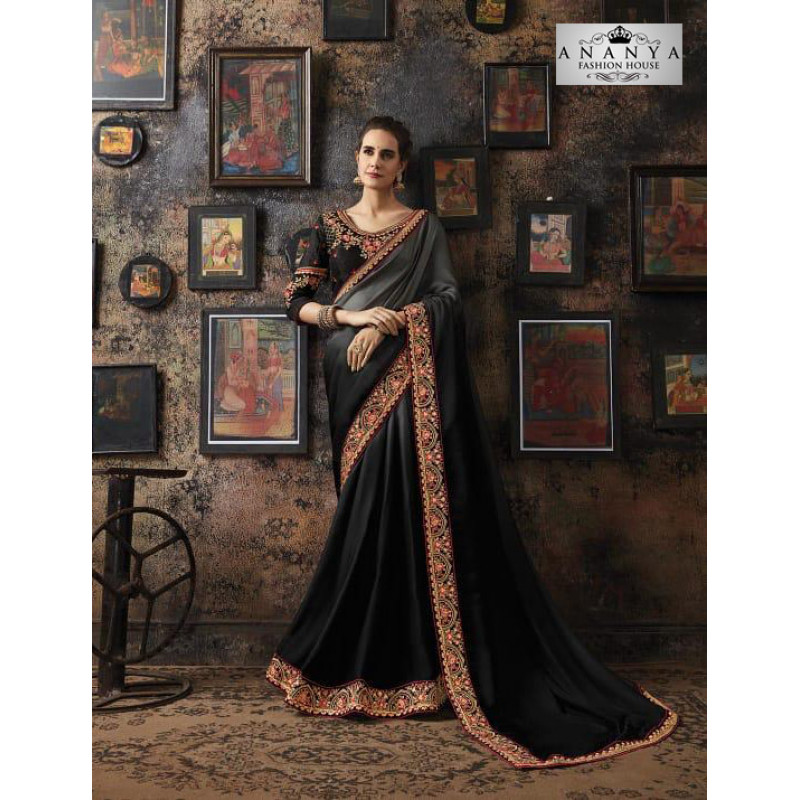 Melodic Black Georgette Silk Saree with Black Blouse