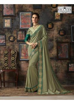 Charming Pista Green Silk Saree with Sea Green Blouse