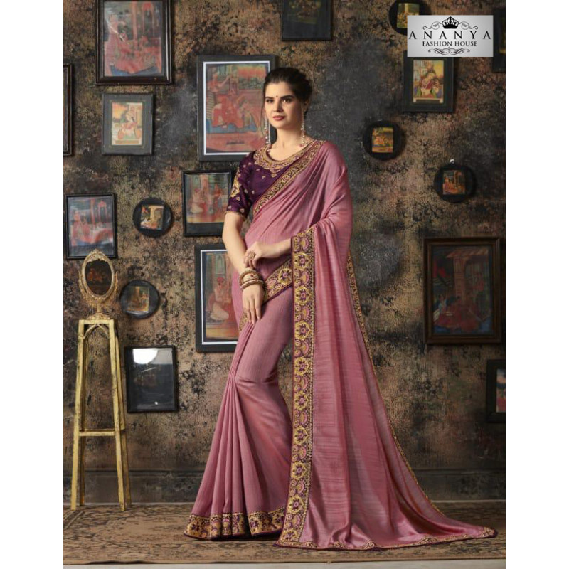 Dazzling Lavender Georgette Silk Saree with Purple Blouse