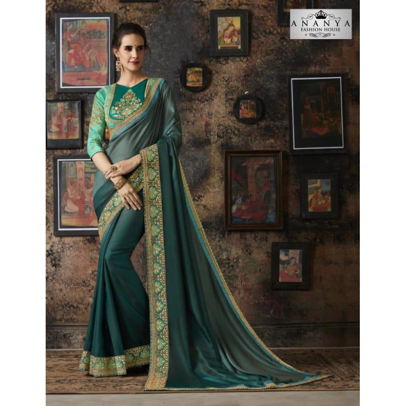 Divine Dark Green Georgette Silk Saree with Blue Blouse