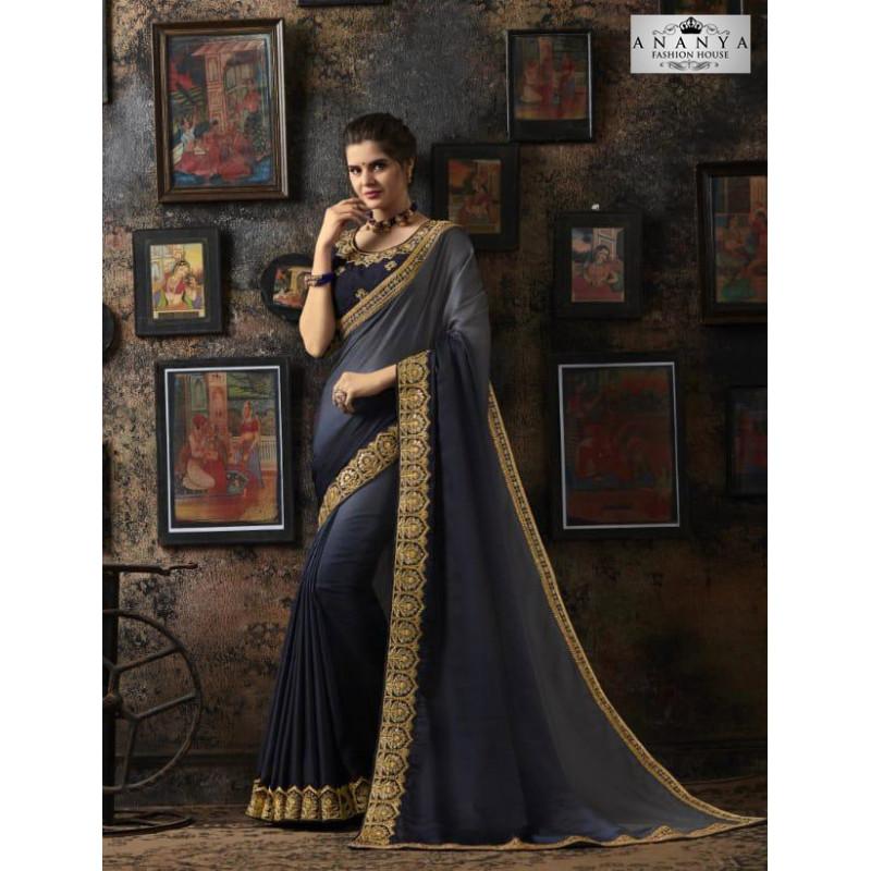 Gorgeous Grey- Blue Georgette Silk Saree with Dark Grey Blouse