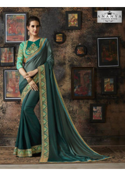 Divine Dark Green Georgette Silk Saree with Blue Blouse