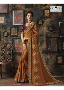 Exotic Mustard Silk Saree with Wine Blouse