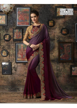 Flamboyant Purple Georgette Silk Saree with Beige Blouse