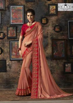 Luscious Light Peach Silk Saree with Red Blouse