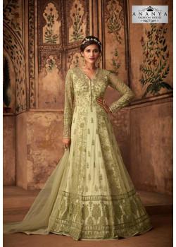 Trendy Light Green Net- Satin Salwar kameez