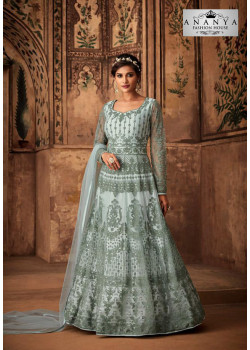 Charming Pastel Blue Net- Satin Salwar kameez