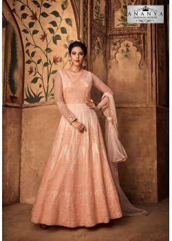 Dazzling Light Peach Net- Satin Salwar kameez