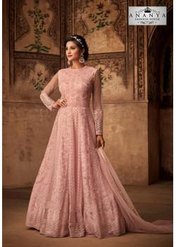 Flamboyant Light Pink Net- Satin Salwar kameez