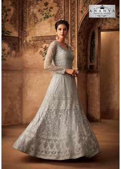 Luscious Light Grey Net- Satin Salwar kameez
