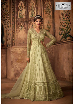 Trendy Light Green Net- Satin Salwar kameez