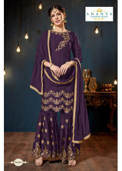 Charming Purple Satin Georgette Salwar kameez