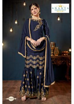 Divine Dark Blue Satin Georgette Salwar kameez
