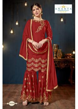 Gorgeous Maroon Satin Georgette Salwar kameez