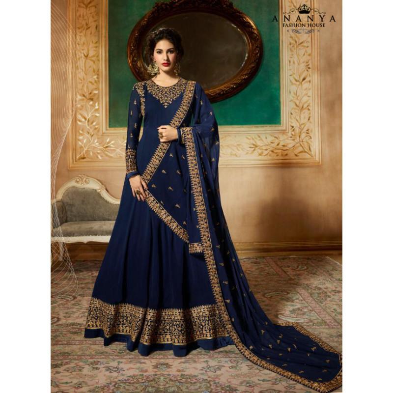 Dazzling Dark Blue Pure Georgette Salwar kameez