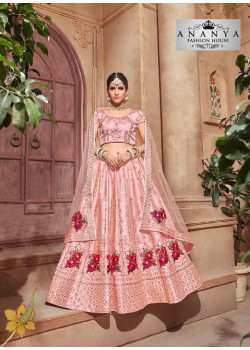 Adorable Pink color Pure Satin Designer Lehenga