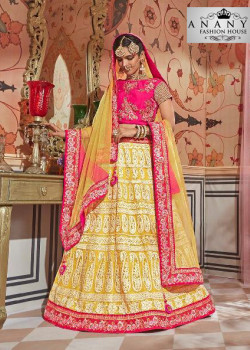 Enigmatic Yellow color Net Designer Lehenga