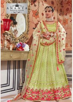 Flamboyant Green color Net Designer Lehenga