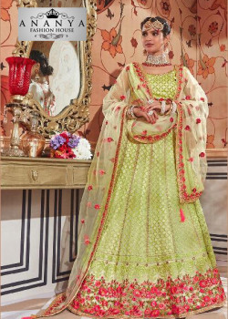 Flamboyant Green color Net Designer Lehenga