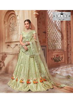 Incredible Pastel Green color Pure Satin Designer Lehenga