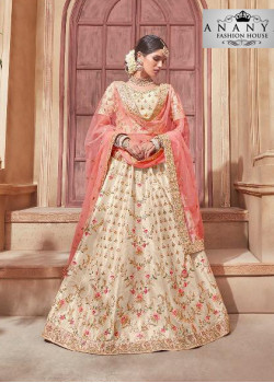 Plushy Off White color Banglori Silk Designer Lehenga