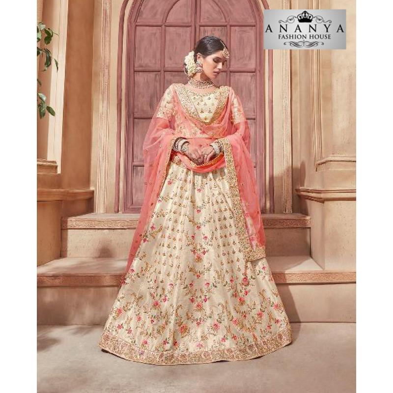 Plushy Off White color Banglori Silk Designer Lehenga