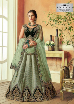 Melodic Light Pista Green color Silk Designer Lehenga