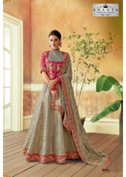 Charming Grey color Brocade Designer Lehenga