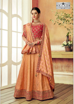Exotic Peach color Brocade Designer Lehenga