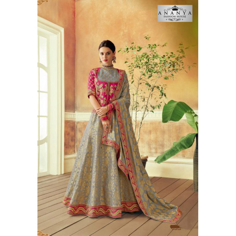 Charming Grey color Brocade Designer Lehenga