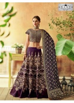 Classic Dark Purple color Jacquard Silk Designer Lehenga
