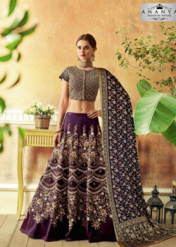 Classic Dark Purple color Jacquard Silk Designer Lehenga
