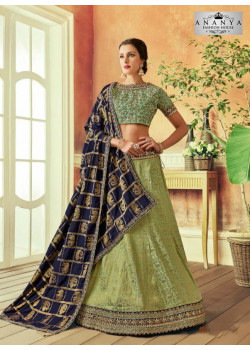 Dazzling Pista Green color Silk Designer Lehenga