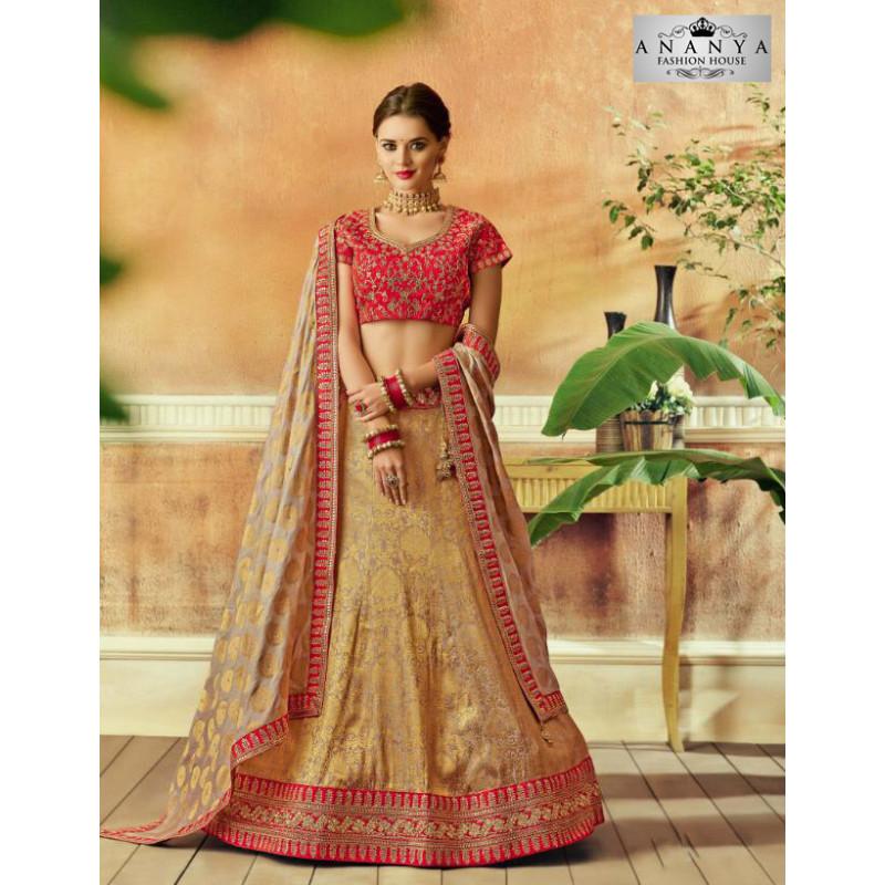 Enigmatic Beige color Taffeta Silk Designer Lehenga