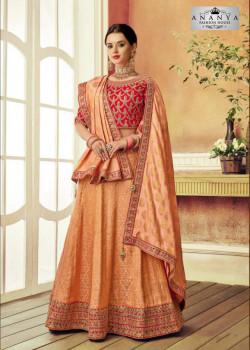 Exotic Peach color Brocade Designer Lehenga
