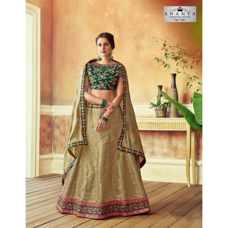 Magnificient Beige color Jacquard Silk Designer Lehenga