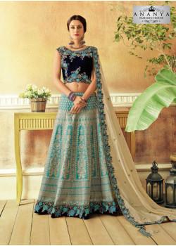 Plushy Light Blue color Jacquard Silk Designer Lehenga