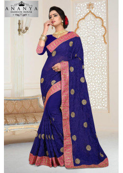 Melodic Dark Blue Georgette   Saree with Dark Blue Blouse