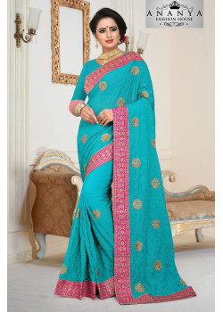 Adorable Light Blue Georgette   Saree with Light Blue Blouse