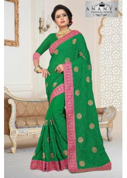 Classic Rama Green Georgette   Saree with Rama Green Blouse