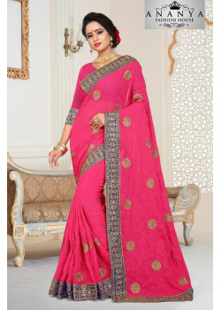 Flamboyant Pink Georgette   Saree with Pink Blouse