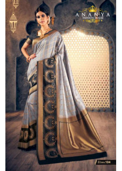 Charming Grey Silk Saree with Black Blouse