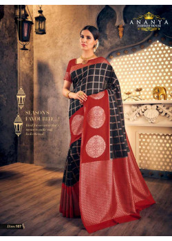 Gorgeous Black- Red Silk Saree with Red Blouse