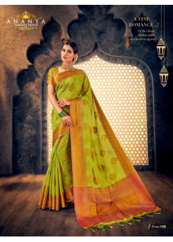 Exotic Light Green Silk Saree with Light Green Blouse
