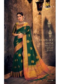 Divine Dark Green Silk Saree with Dark Green- Gold Blouse