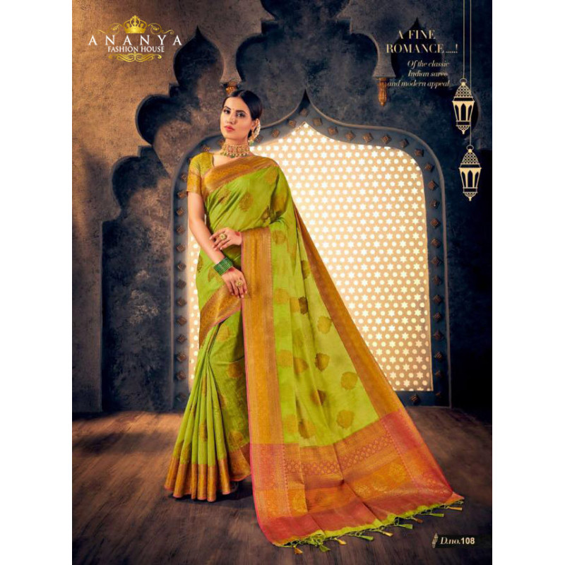 Exotic Light Green Silk Saree with Light Green Blouse