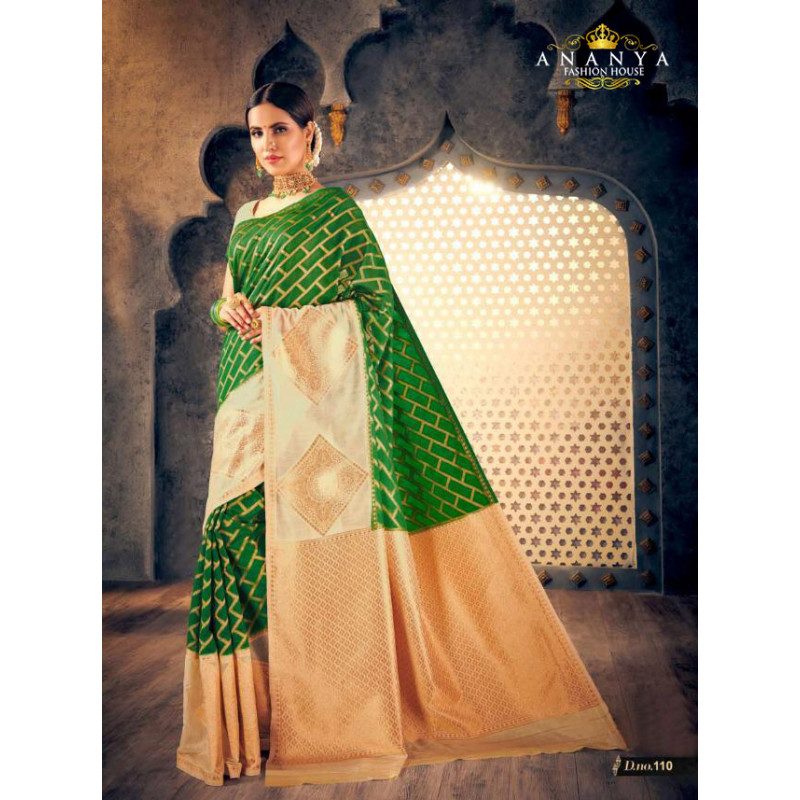 Incredible Dark Green Silk Saree with Off White Blouse