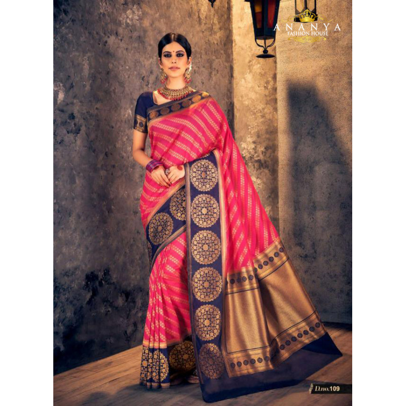 Magnificient Magenta Silk Saree with Dark Blue Blouse