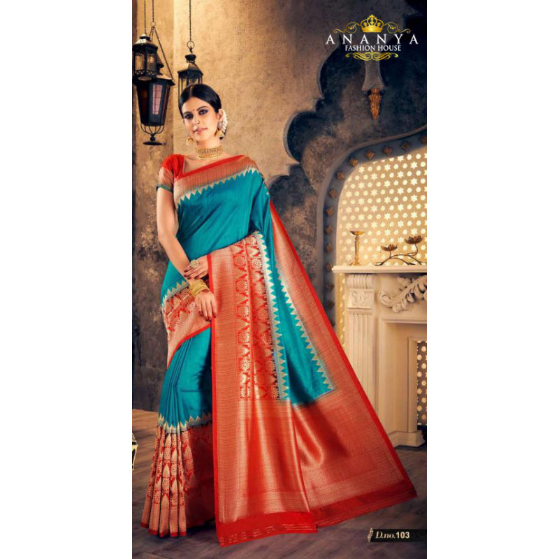 Melodic Blue- Red Silk Saree with Red Blouse