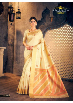 Plushy Off White Silk Saree with Off White Blouse